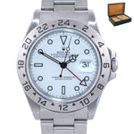 1999 Rolex Explorer 2 16570 Steel White Polar GMT SWISS ONLY Dial 40mm Watch Box