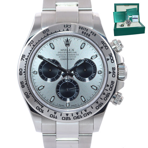 Mint 2018 PAPERS Rolex Daytona Silver Black Panda Dial 116509 White Gold Watch