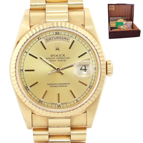 UNPOLISHED MINT Rolex Day-Date President 18k Gold Double Quick Set Silver Stick