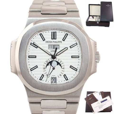 2016 PAPERS NAUTILUS Patek Philippe White 5726 Annual Calendar 40.5mm Watch