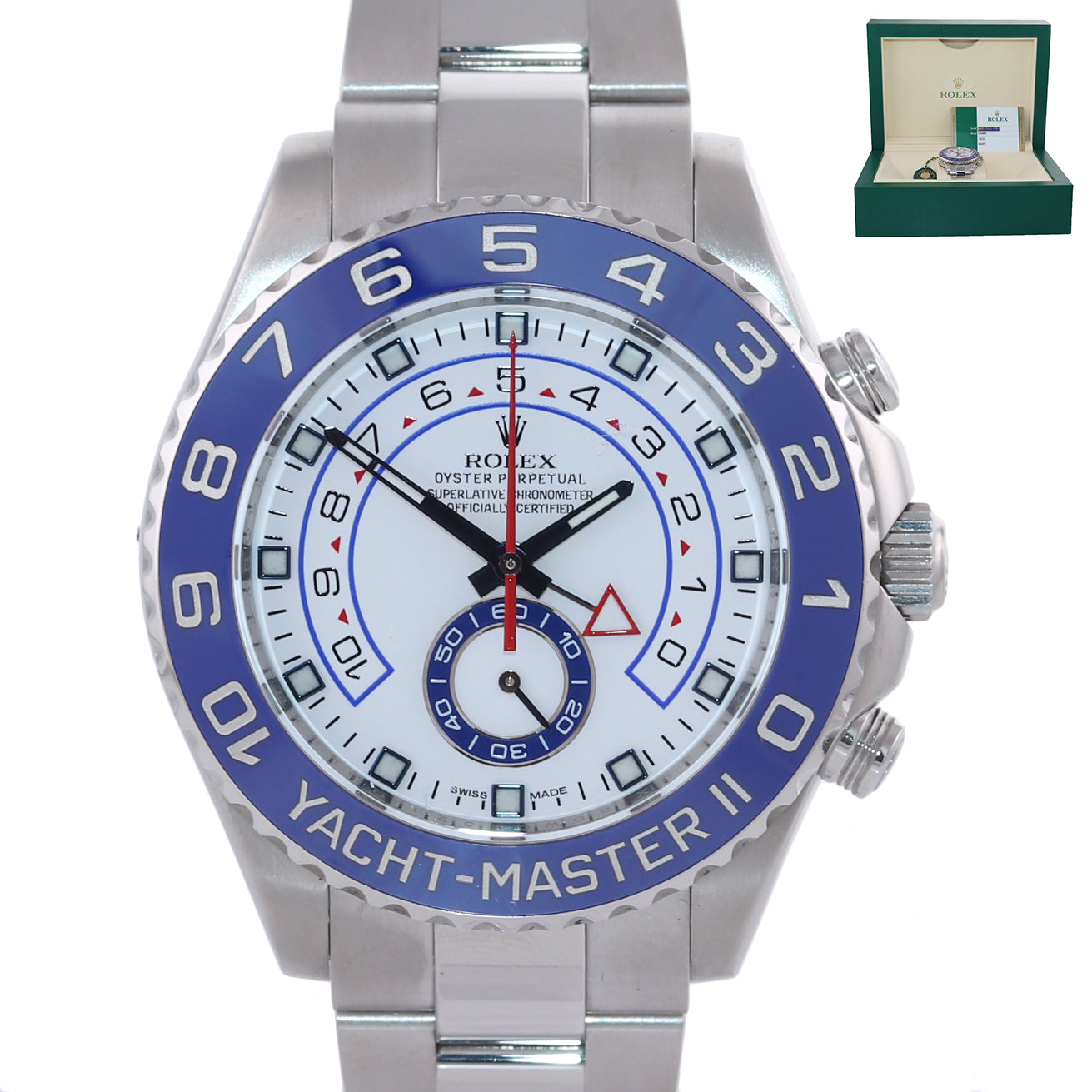 PAPERS MINT 2016 Rolex Yacht-Master II 44mm Steel Random Ceramic 116680 Watch