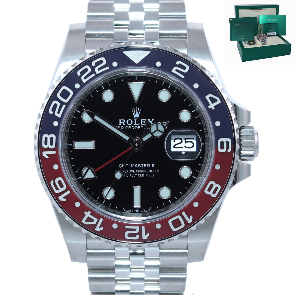 STICKERS NEW 2020 Rolex GMT Master PEPSI Red Blue Ceramic 126710 BLRO Watch Box