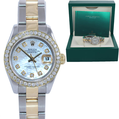 Ladies Rolex DateJust 26mm 179163 Yellow Gold Two Tone MOP Dial Diamond Watch
