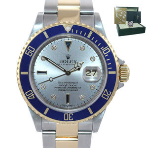 2006 Rolex Submariner 16613 SERTI DIAMOND Two Tone 18k Gold Watch Gold Buckle