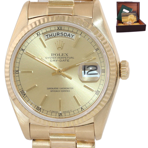 Rolex President 36mm 18038 18k Yellow Gold Champagne Dial Day Date Watch Box