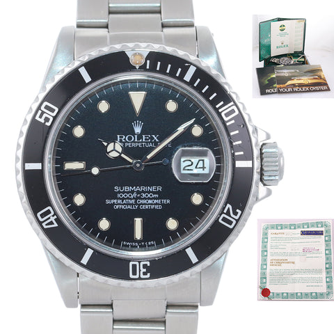 RARE PAPERS PATINA Rolex Submariner 16800 Black Steel Date Dive Watch Box