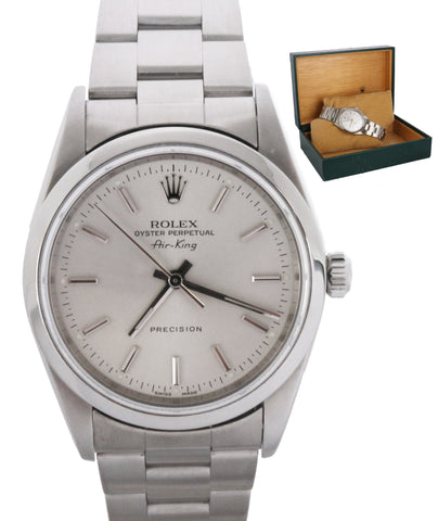2003 MINT Rolex Oyster Perpetual Air-King Silver 14000 M 34mm Stainless