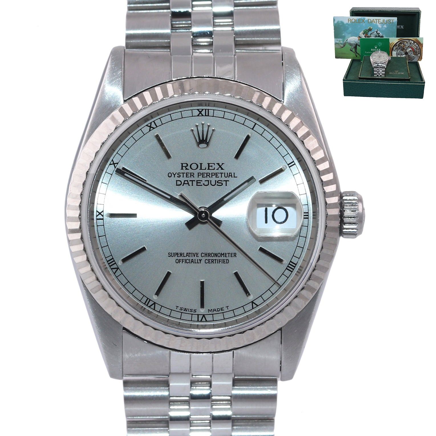 PAPERS Rolex DateJust 36mm 16234 Steel Silver Stick Jubilee 18k Fluted Watch