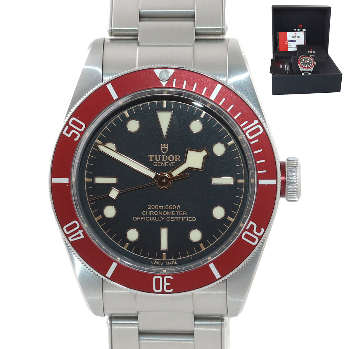 2019 COMPLETE Tudor Heritage Black Bay 79230R Stainless Steel Black Dive Watch