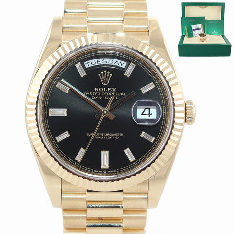 PAPERS 2019 MINT Rolex President 40mm 228238 Yellow Gold Black Diamond Watch Box
