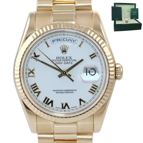 MINT Rolex Day-Date President Heavy Band 18K Gold White Roman 118238 Watch Box