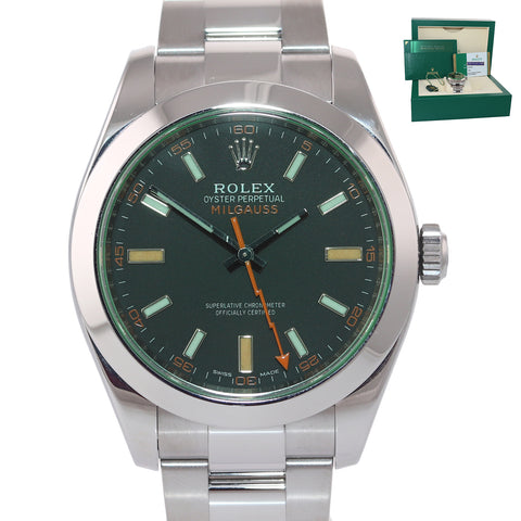NEW 2019 PAPERS Rolex Milgauss Green Bezel Anniversary 116400gv Steel Black Watch