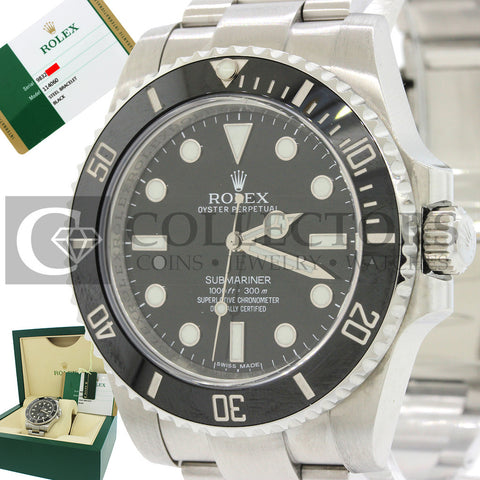 2015 Rolex Submariner Ceramic No Date Steel 114060 Black Watch Box Papers C8