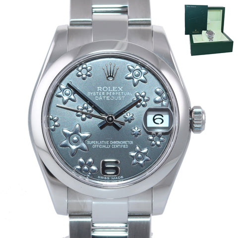 2012 Ladies Rolex DateJust 31MM Rhodium Flower Arabic Mid Size 178240 Wat