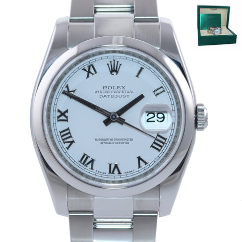 2012 MINT Rolex DateJust White Roman 116200 36mm Oyster Steel  Modern Watch Box