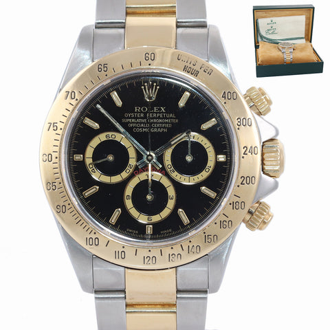 Rolex Daytona 16523 Black Dial Zenith 18k Gold Steel Two Tone Chrono SEL Watch