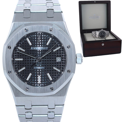 MINT Audemars Piguet Royal Oak Black Stick Dial 39mm Steel 15300 Date Watch Box