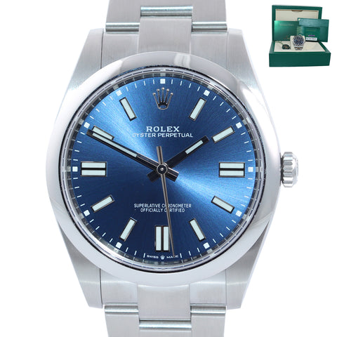 BRAND NEW 2020 CARD Rolex Oyster Perpetual 41mm Blue Oyster Watch 124300 Box