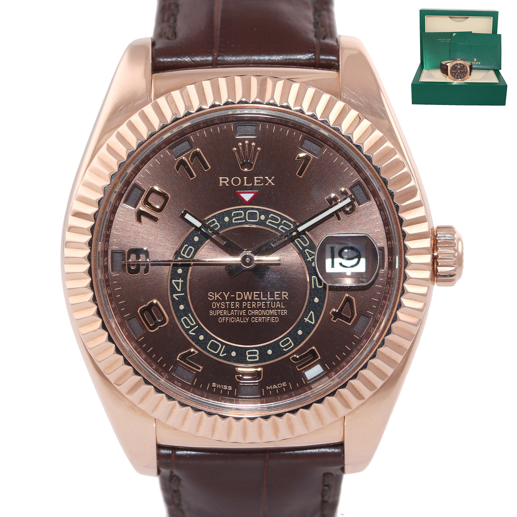 2016 Rolex Sky-Dweller 18K Rose Gold 326135 42mm Chocolate Dial Leather Watch