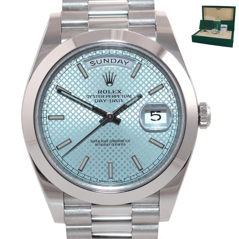 NEW 2019 PAPERS Rolex Platinum President Day Date Blue Motif 228206 Watch Box