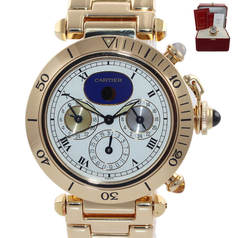 PAPERS Cartier Pasha 39mm 18K Yellow Gold Three Time Zone Automatic 0925 Watch
