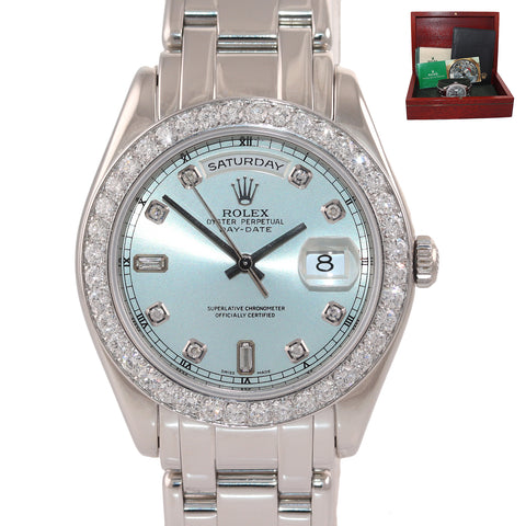 Rolex President Glacier Blue Diamond Masterpiece 39MM Platinum 18946 Watch Box