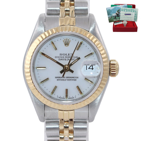 PAPERS Ladies Rolex 69173 Two Tone 18k Gold White Dial  26mm Jubilee Watch Box