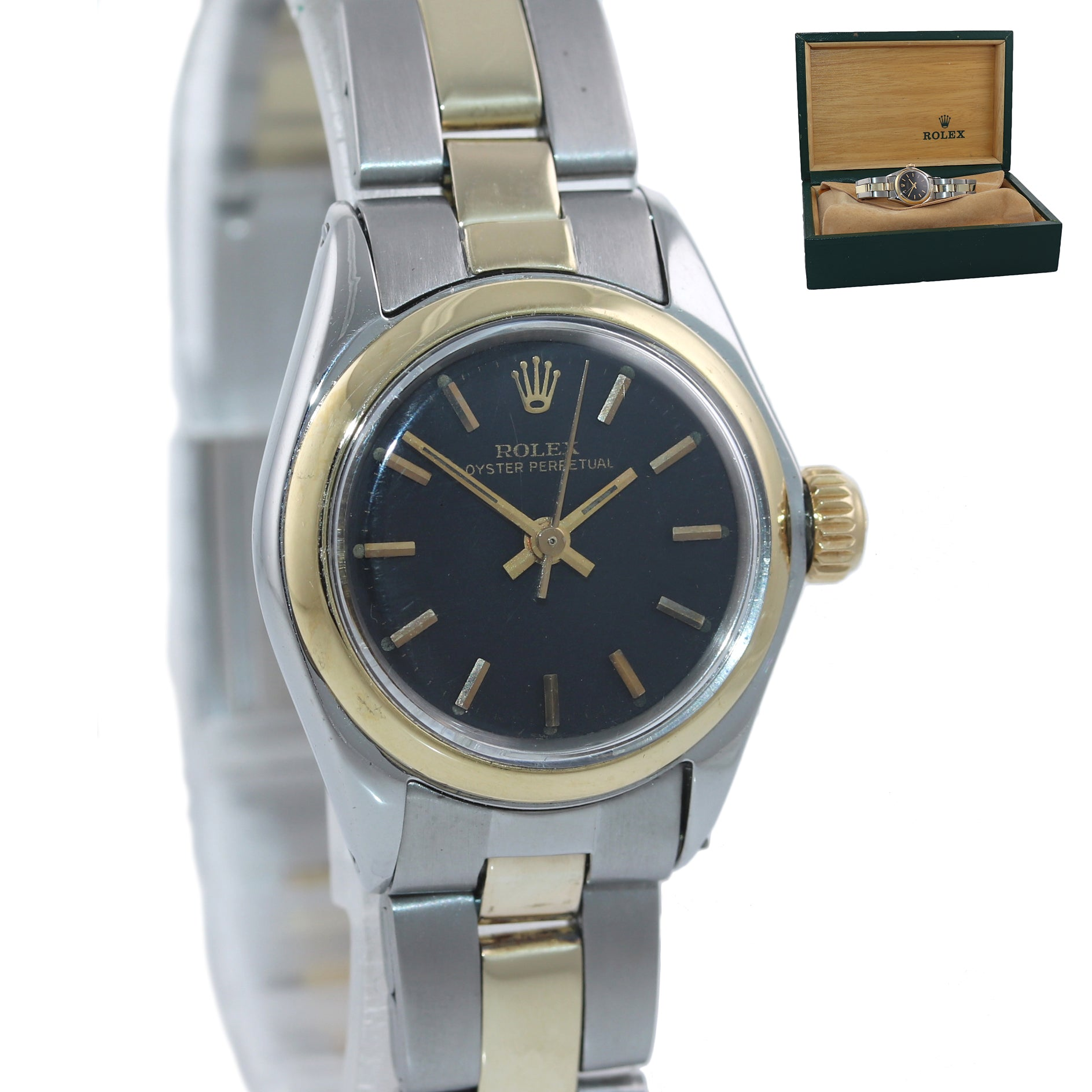 Ladies Rolex 26mm 6818 Two Tone Gold Steel Oyster Black Dial Watch Box