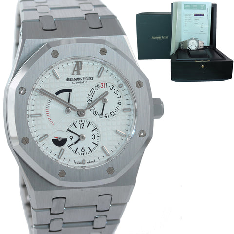 NOS PAPERS Audemars Piguet AP Royal Oak 39 Dual Time Reserve White 26120 Watch