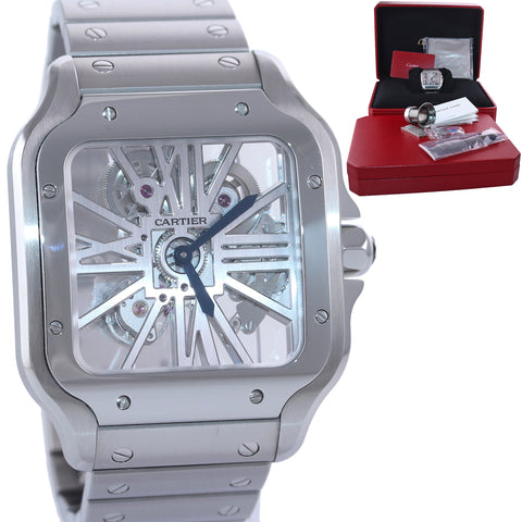PAPERS NEW 2020 Cartier Santos SKELETON 40mm Manual Steel Watch Box