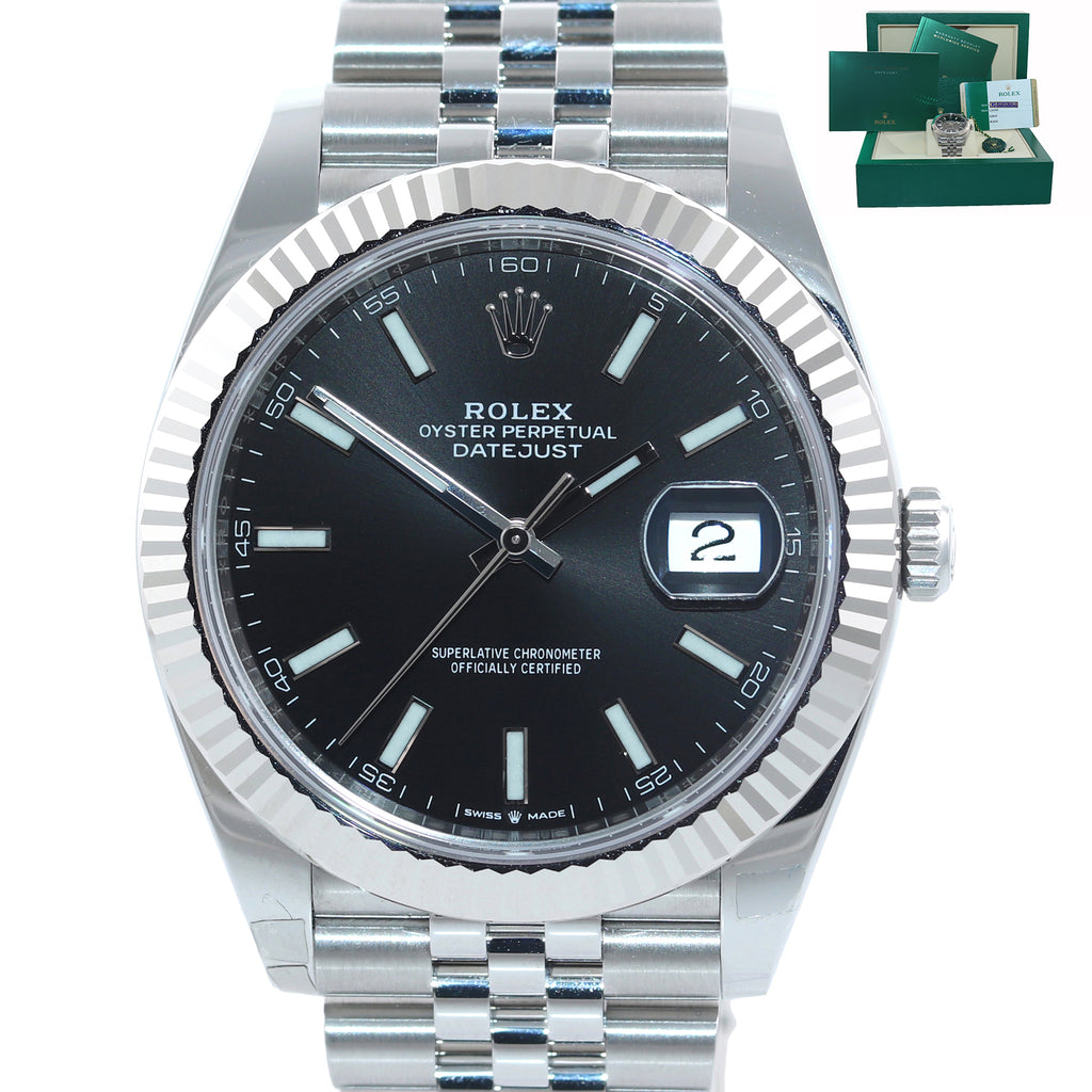 NEW PAPERS Rolex DateJust 41 126334 Black Stick Steel Fluted Jubilee Watch Box