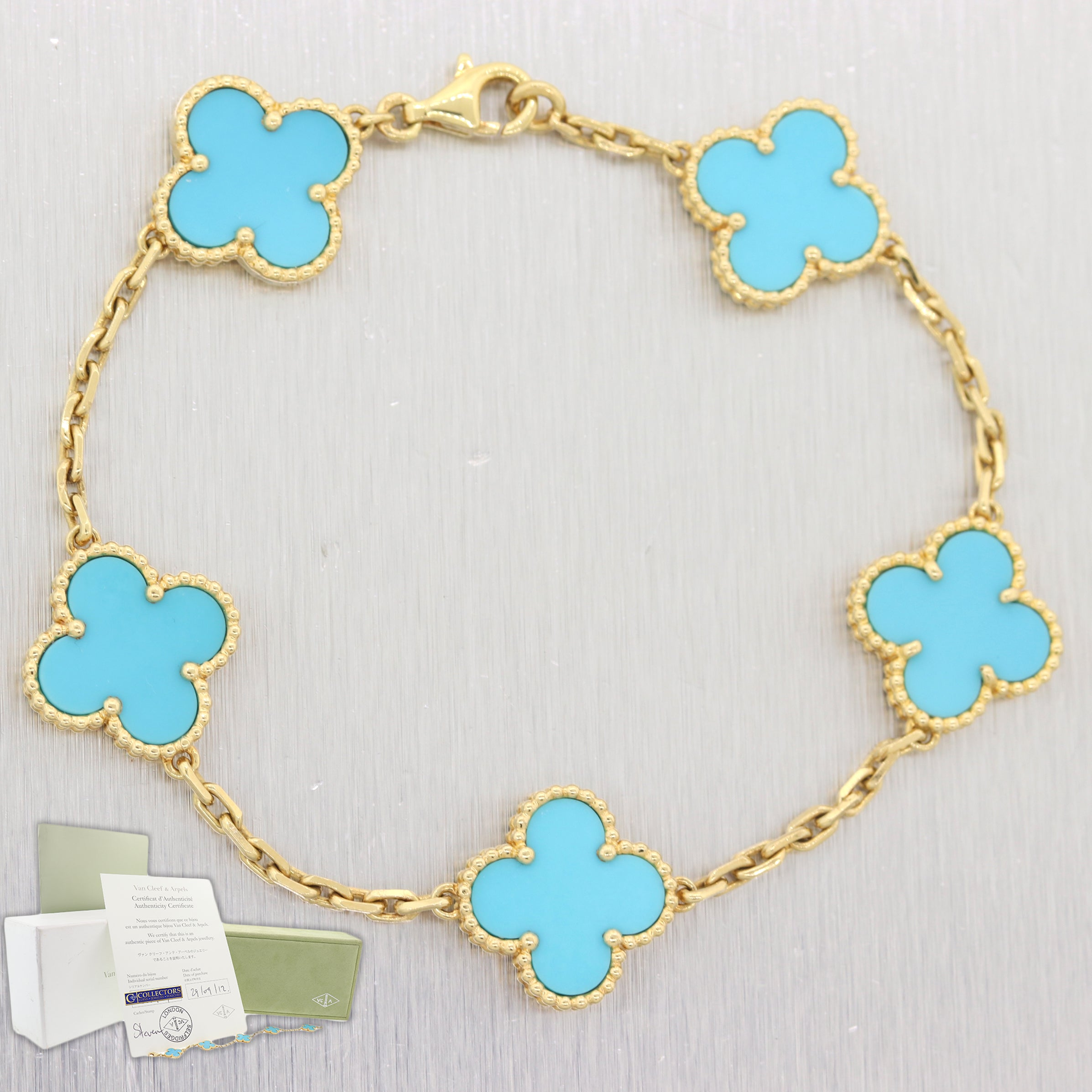 RARE Van Cleef & Arpels 18k Yellow Gold Turquoise Alhambra Bracelet