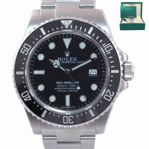 MINT 2017 Rolex Sea-Dweller 4000 SD4K 116600 Steel Black Ceramic Dive Watch