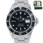 2005 PAPERS MINT Rolex Submariner Date 16610 Steel Black NO HOLES Watch Box