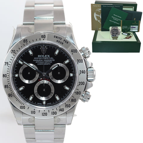 2012 NEW NOS PAPERS STICKERS Rolex Daytona Black 116520 Steel Watch Box