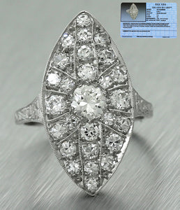 $4,260 Ladies Art Deco Estate Platinum 1.44ctw Diamond Cluster Cocktail Ring