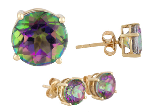 Ladies Modern 14K Yellow Gold 8x8mm Rainbow Mystic Fire Topaz Stud Earrings