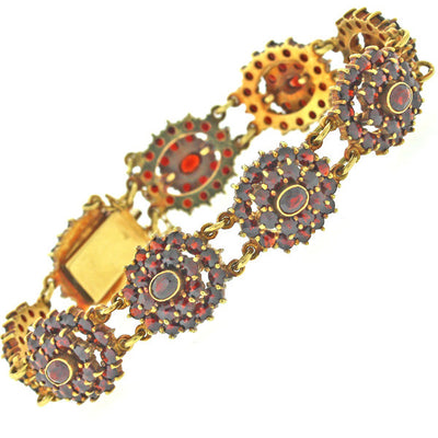 Vintage Retro Estate 18k Solid Yellow Gold 9.27ctw Garnet Flower Bracelet 30.1g