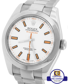 MINT Men's Rolex Milgauss 116400 White Orange 40mm Stainless Anti-Magnetic Watch