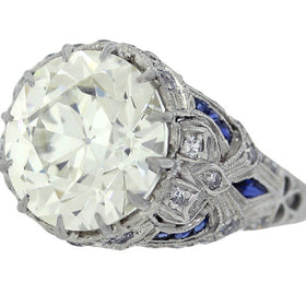 Antique Art Deco Filigree 1920s Platinum 5.48ct Diamond Sapphire Engagement Ring
