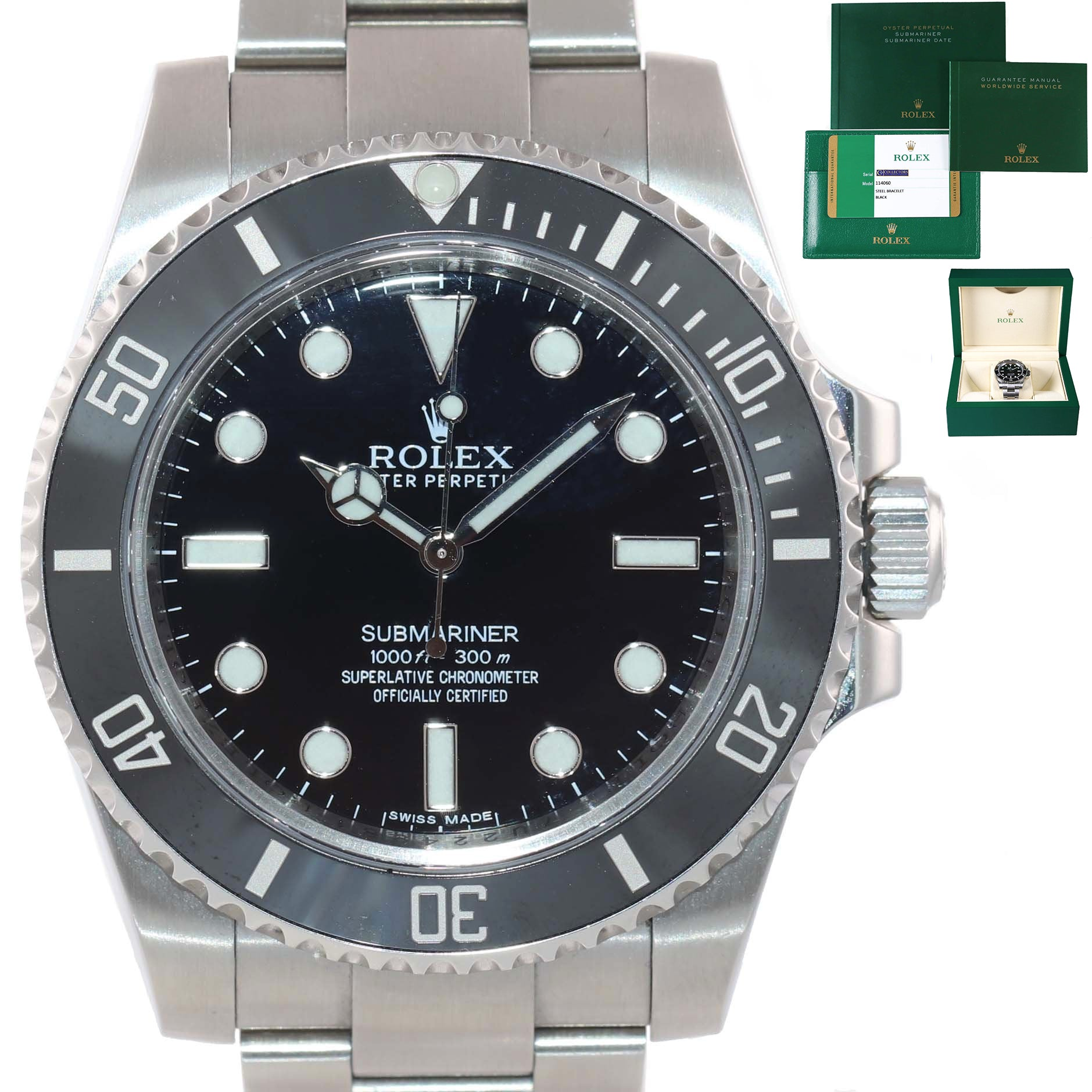 2017 PAPERS MINT Rolex Submariner No-Date 114060 Steel Black Ceramic Watch Box