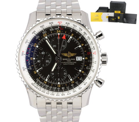 2014 Breitling Navitimer World GMT Stainless Black 46mm Chronograph Watch A24322