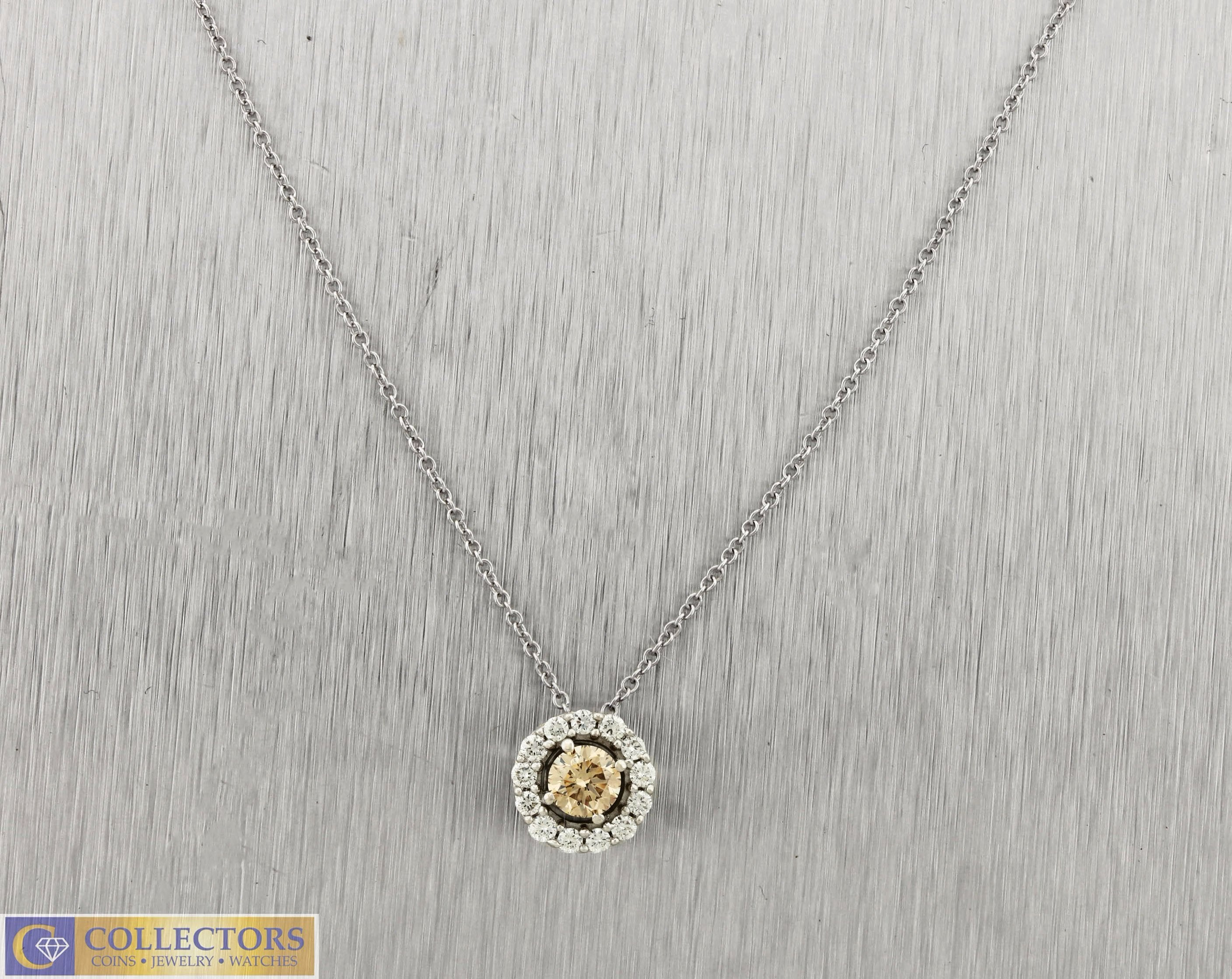 Ladies LeVian 0.50CT Chocolate Diamond 14K White Gold Pendant Necklace