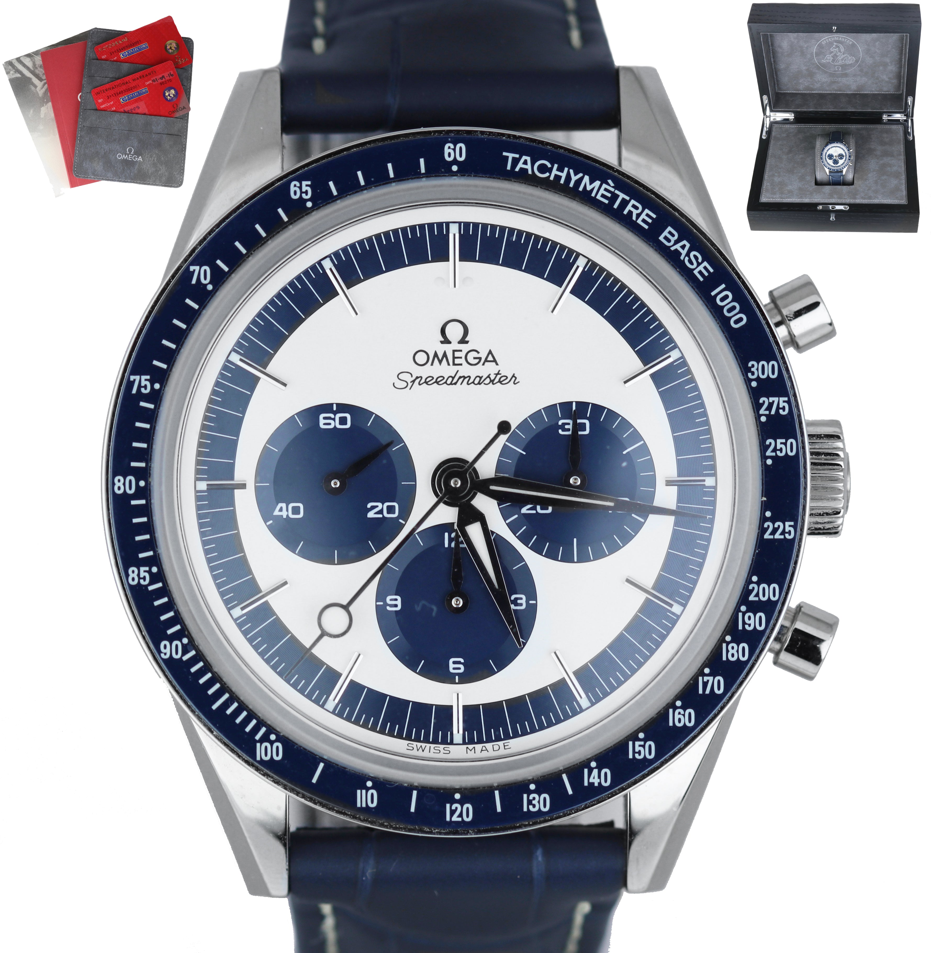 MINT Omega Speedmaster CK2998 Moonwatch 311.33.40.30.02.001 Blue Silver Limited