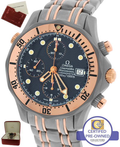 MINT Omega Seamaster Chronograph Titanium Rose Gold Blue 41mm 2296.80.00 Watch