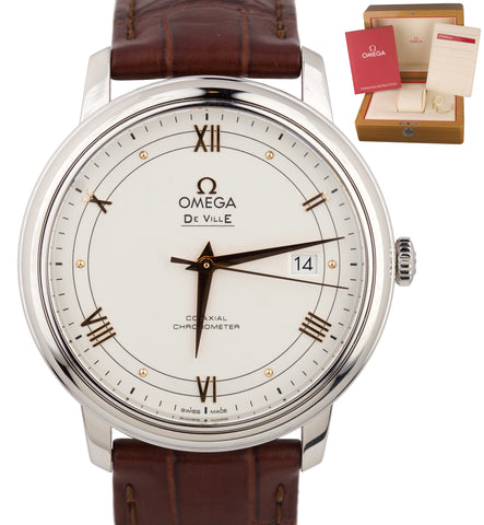 Omega De Ville Silver Opaline Co-Axial 39.5 424.13.40.20.02.002 Stainless Watch