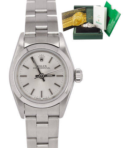 1999 Ladies Rolex Oyster Perpetual 67180 Silver Stick No Holes Oyster 24mm Watch