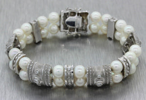 Vintage Estate 18k Solid White Gold Pearl .60ctw Diamond Bracelet