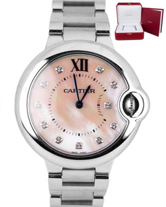 Ladies Cartier Ballon Bleu Midsize 33mm Quartz Pink MOP Diamond Watch 3653