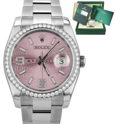 Factory Diamond Rolex DateJust 116244 Pink Waves 36mm Stainless Oyster Watch